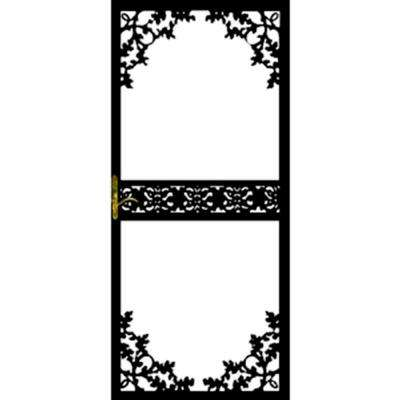 36 in. x 80 in. 164 Series Black Hinge Right Lake Security Door with Self-Storing Glass Feature