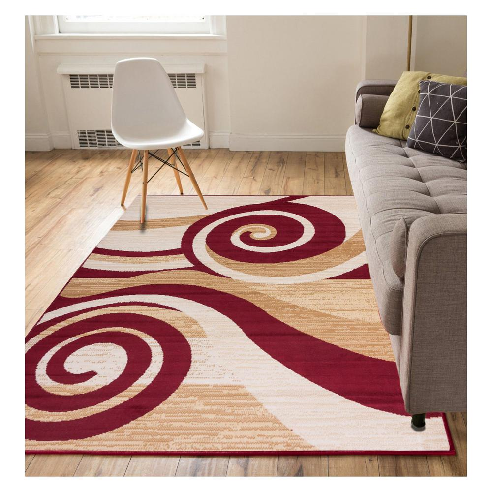 Miami Maple Waves Modern Scrolls Red 5