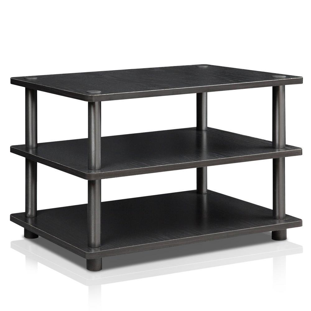 Turn-N-Tube Black 3-Shelf TV Stand