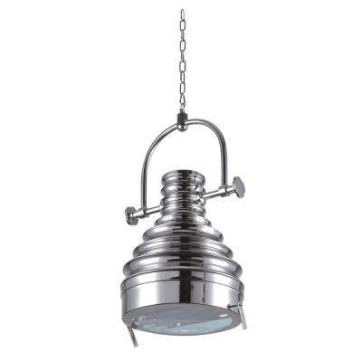 Industrial 1-Light Brushed Nickel Pendant Lamp