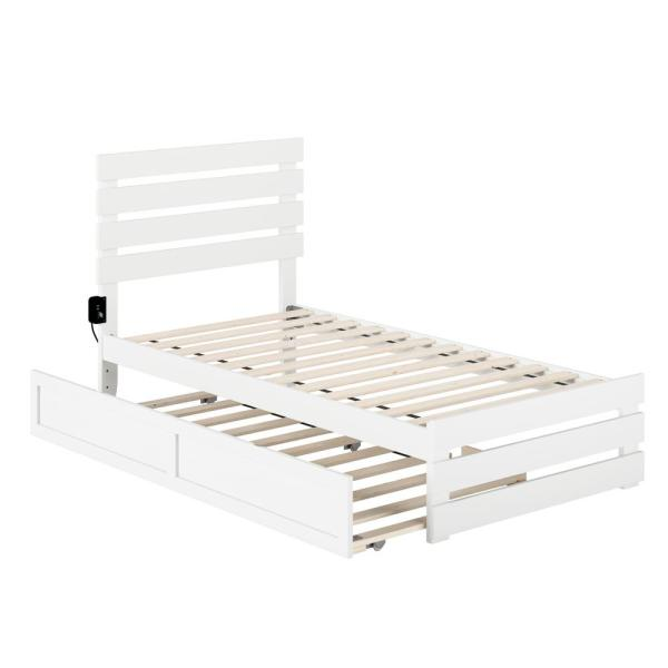 Oxford White Twin Bed with Footboard and USB Turbo Charger with Twin Trundle