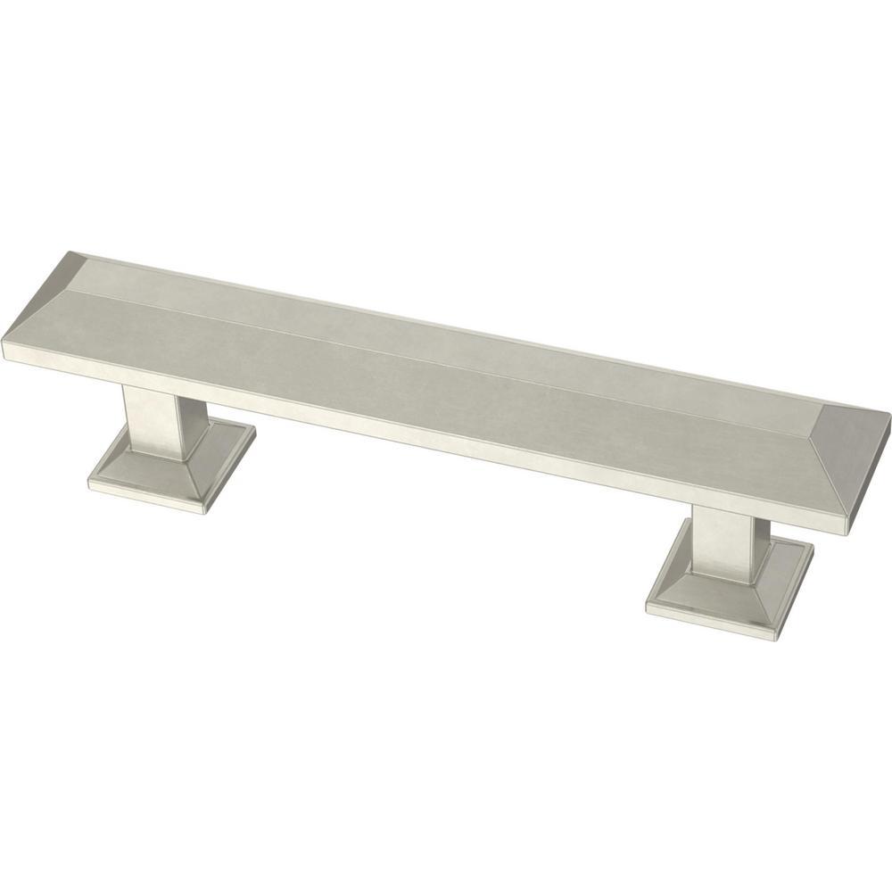 Beveled Square 3 in. (76 mm) Satin Nickel Drawer Pull