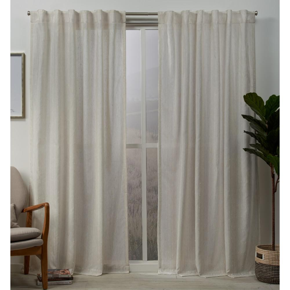 Exclusive Home Curtains Muskoka 54 In W X 96 In L Embellished Hidden Tab Top Curtain Panel In Natural 2 Panels