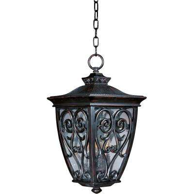 Newbury Vivex 3-Light Oriental Bronze Outdoor Hanging Lantern