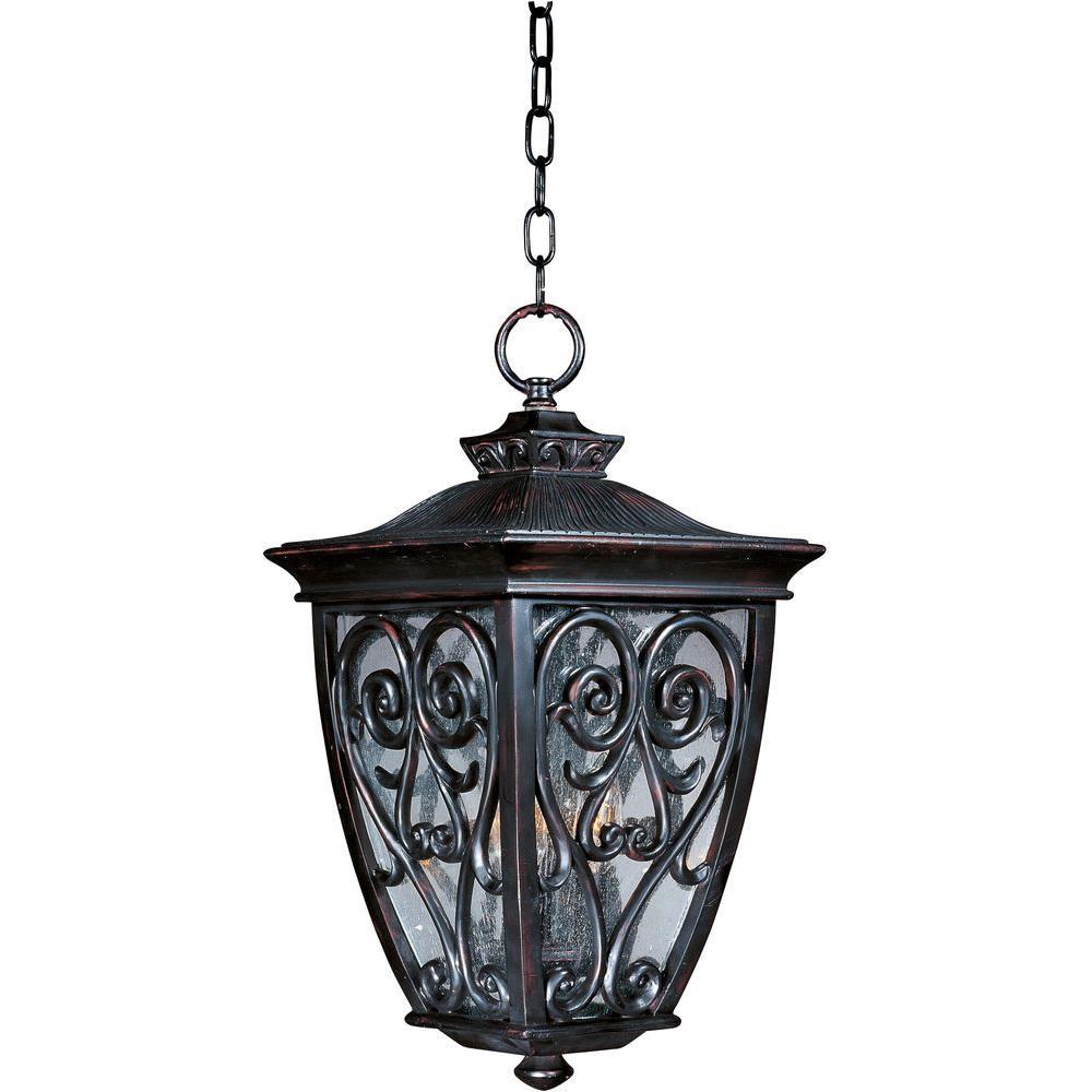 Newbury Vivex 3-Light Oriental Bronze Outdoor Hanging Lantern