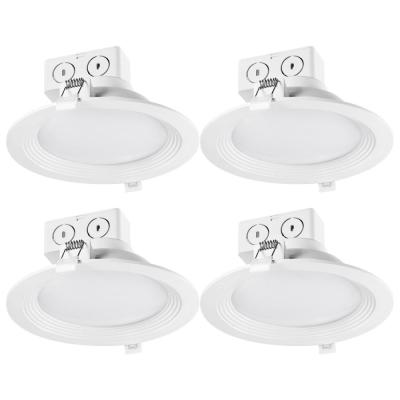 6 in. White New Construction and Remodel Integrated LED Recessed Lighting Kit (4-Pack)