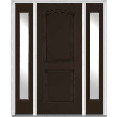 60 in. x 80 in. Left Hand Inswing 2-Panel Arch Painted Fiberglass Smooth Prehung Front Door with Sidelites