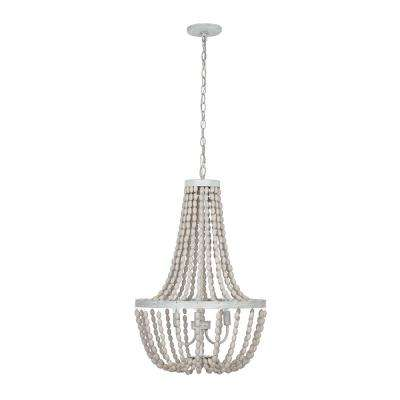 3-Light Antique White with Gray Beaded Chandelier