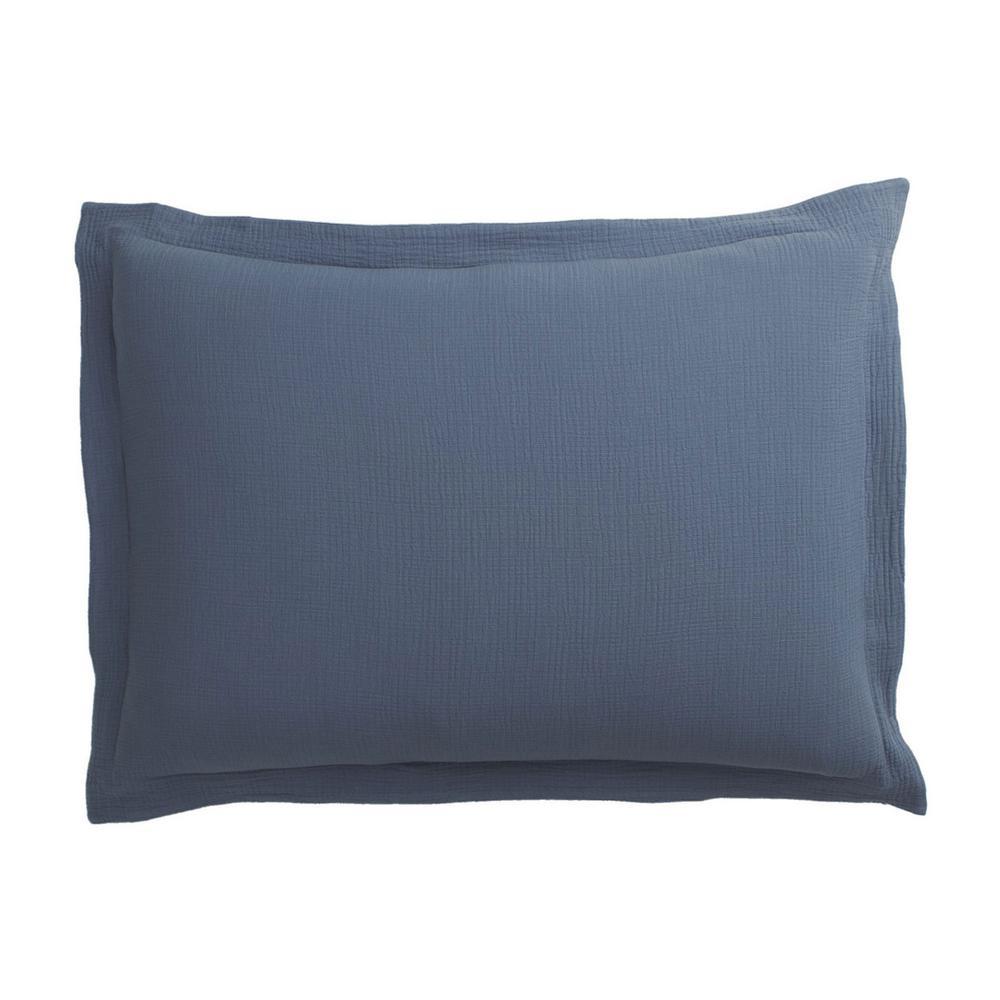 The Company Store Pryor Shadow Blue Solid Organic Cotton Standard Sham