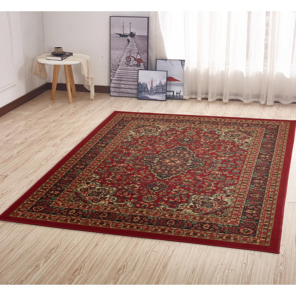 Ottomanson Ottohome Collection Traditional Persian All-Over Pattern Design Dark Red 5 ft. x 7 ft. Area Rug