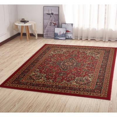 Ottohome Collection Traditional Persian All-Over Pattern Design Dark Red 5 ft. x 7 ft. Area Rug
