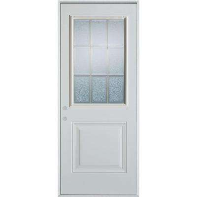 32 in. x 80 in. Geometric Glue Chip and Zinc 1/2 Lite 1-Panel Painted Right-Hand Inswing Steel Prehung Front Door