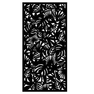 0.3 in. x 95.6 in. x 3.95 ft. Rainforest Recycled Plastic Charcoal Decorative Screen (4-Piece per Bundle)