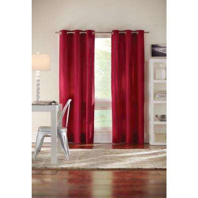 Semi-Opaque Red Cotton Duck Grommet Curtain