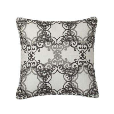 Embroidered Decorative Pillow Cover in Natural Medallion, 26 in. x 26 in.
