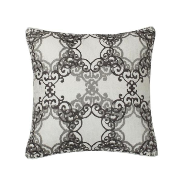 Embroidered Natural Medallion 26 in. x 26 in. Decorative Throw Pillow Cover