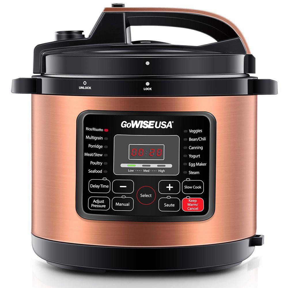 GoWISEUSA GoWISE USA 8 Qt. Copper Electric Pressure Cooker with Built-In Timer, Brown