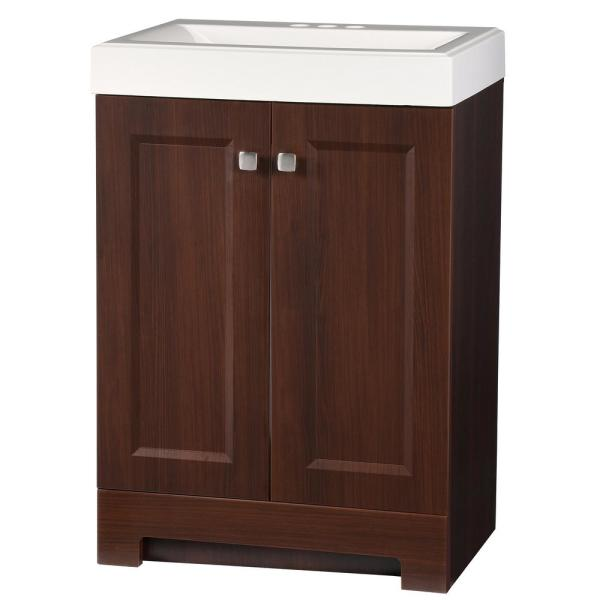 Shaila 24.5 in. W Bath Vanity in Truffle with Cultured Marble Vanity Top in White with White Sink