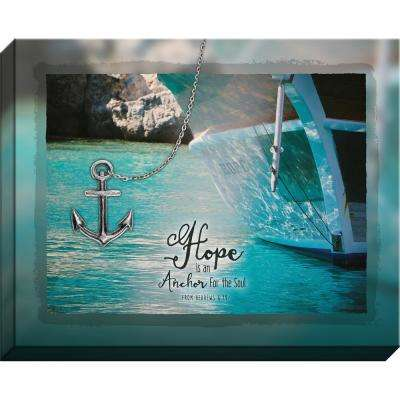 """Embellished Canvas """"Hope W/ Metal Anchor"""" By Carpentree Canvas"""