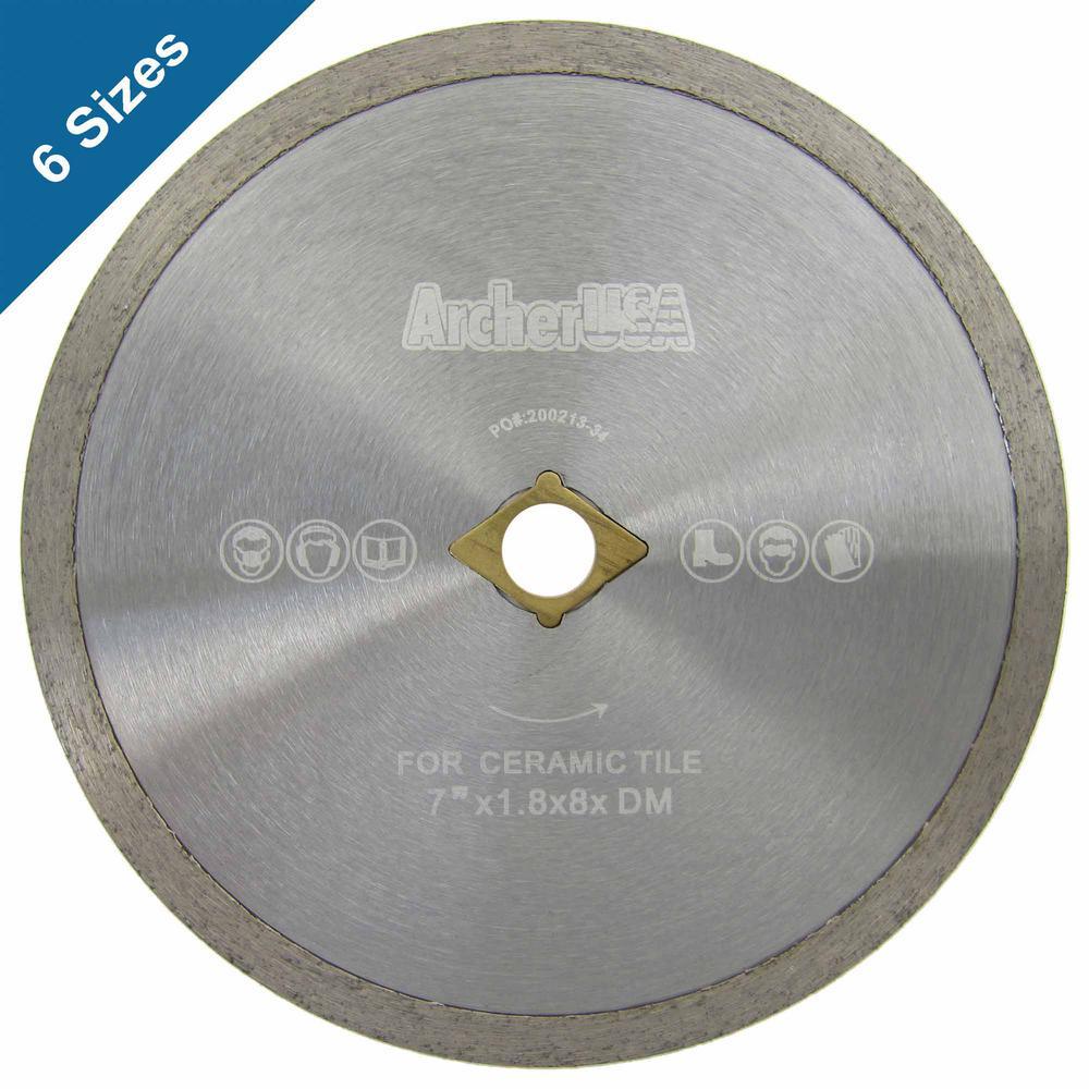 RPM 4500 Ceramic Tile Cutting ARCHER USA Continuous Rim Diamond Blade 14 in