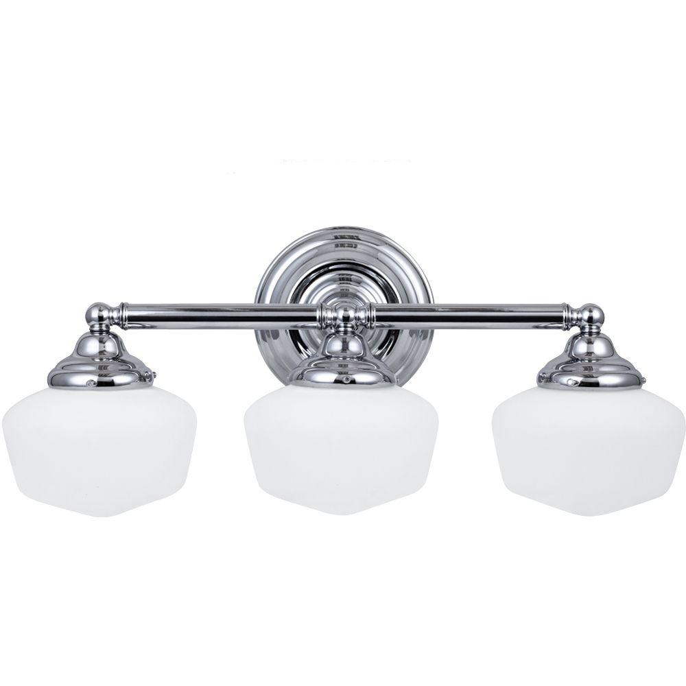 Sea Gull Lighting Academy 23.25 In. W 3 Light Chrome Vanity Light With Satin