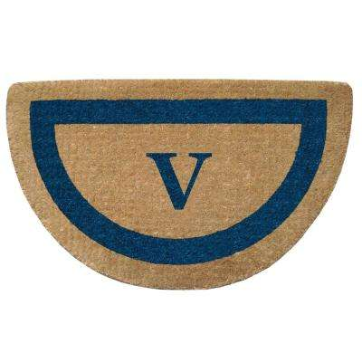 Single Picture Frame Tan/Blue 22 in. x 36 in. Half Round Heavy Duty Coir Monogrammed V Door Mat