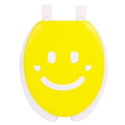 Smile Round Closed Front Toilet Seat in Yellow and White