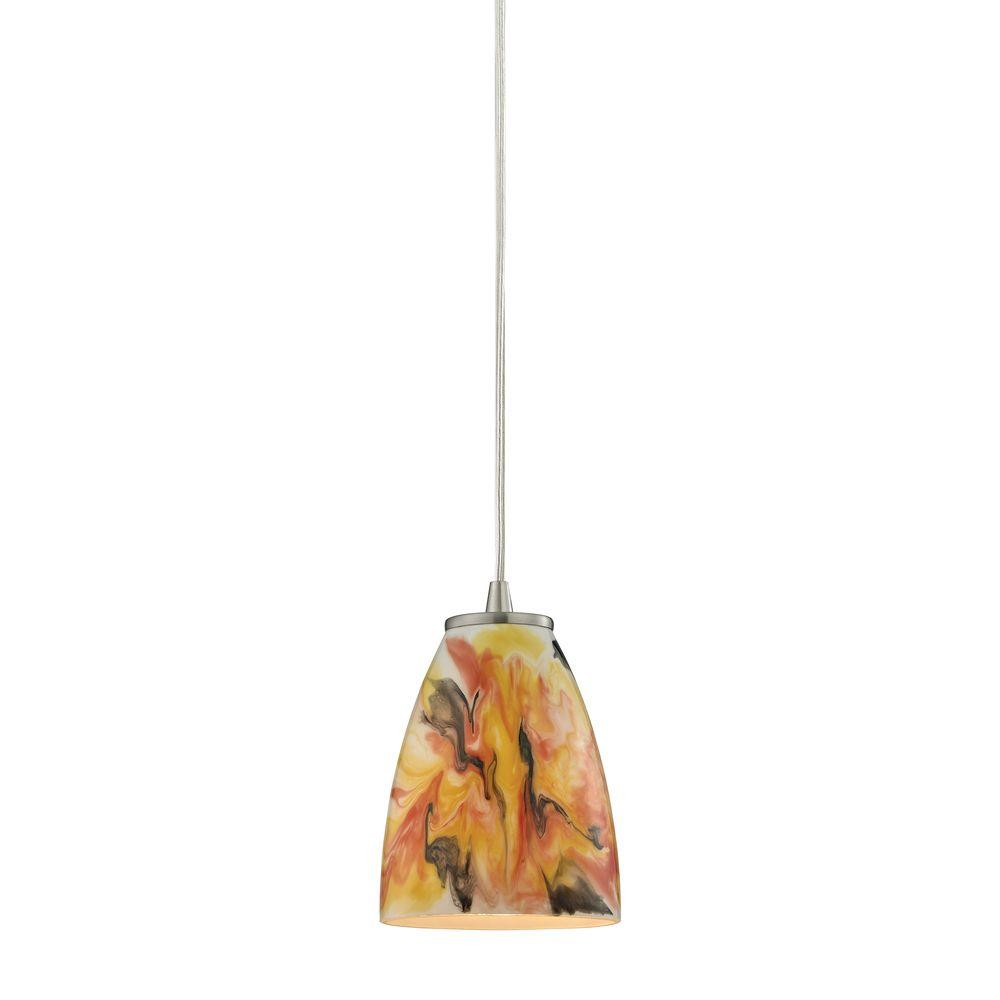 Titan Lighting Adelaide Existing Collection 1 Light Satin Nickel Pendant Tn 39064 The Home Depot