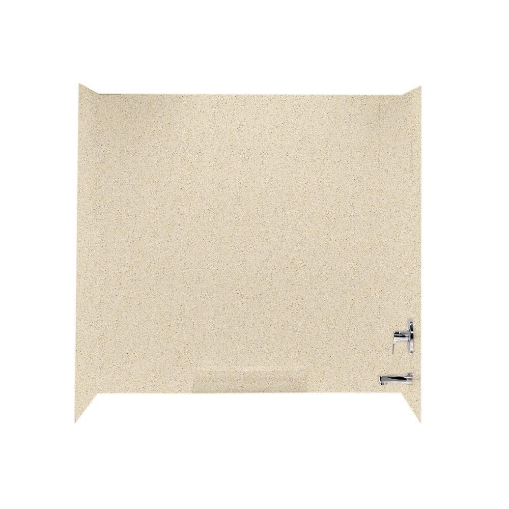 Swan 30 in. x 60 in. x 58 in. 3-Piece Easy Up Adhesive Tub Wall in Bermuda Sand