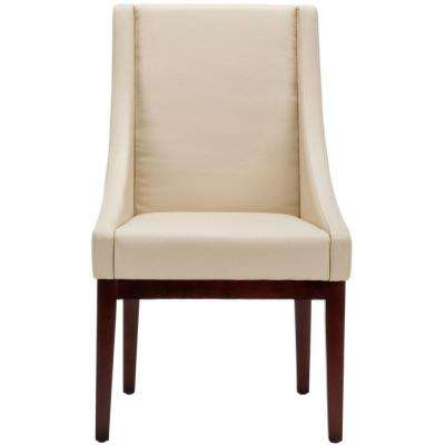 Cream/Cherry Mahogany Bicast Leather Arm Chair