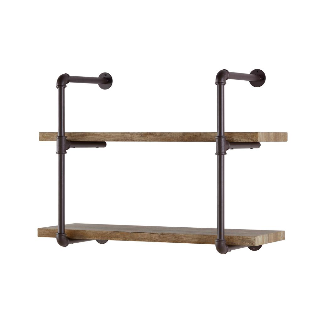 Danya B. Urbanne Industrial Aged 2-Tiered Wood Print MDF and Metal Pipe Floating Wall Shelf
