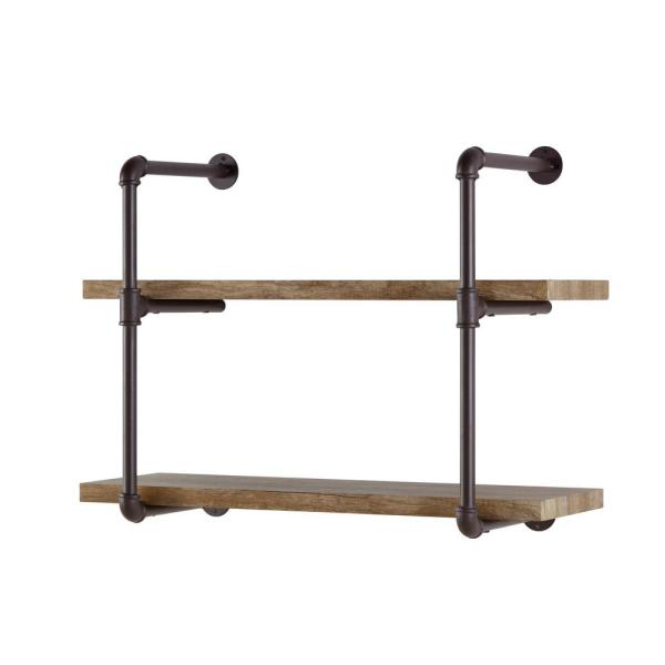 DANYA B Urbanne Industrial Aged 2-Tiered Wood Print MDF and Metal Pipe Floating Wall Shelf