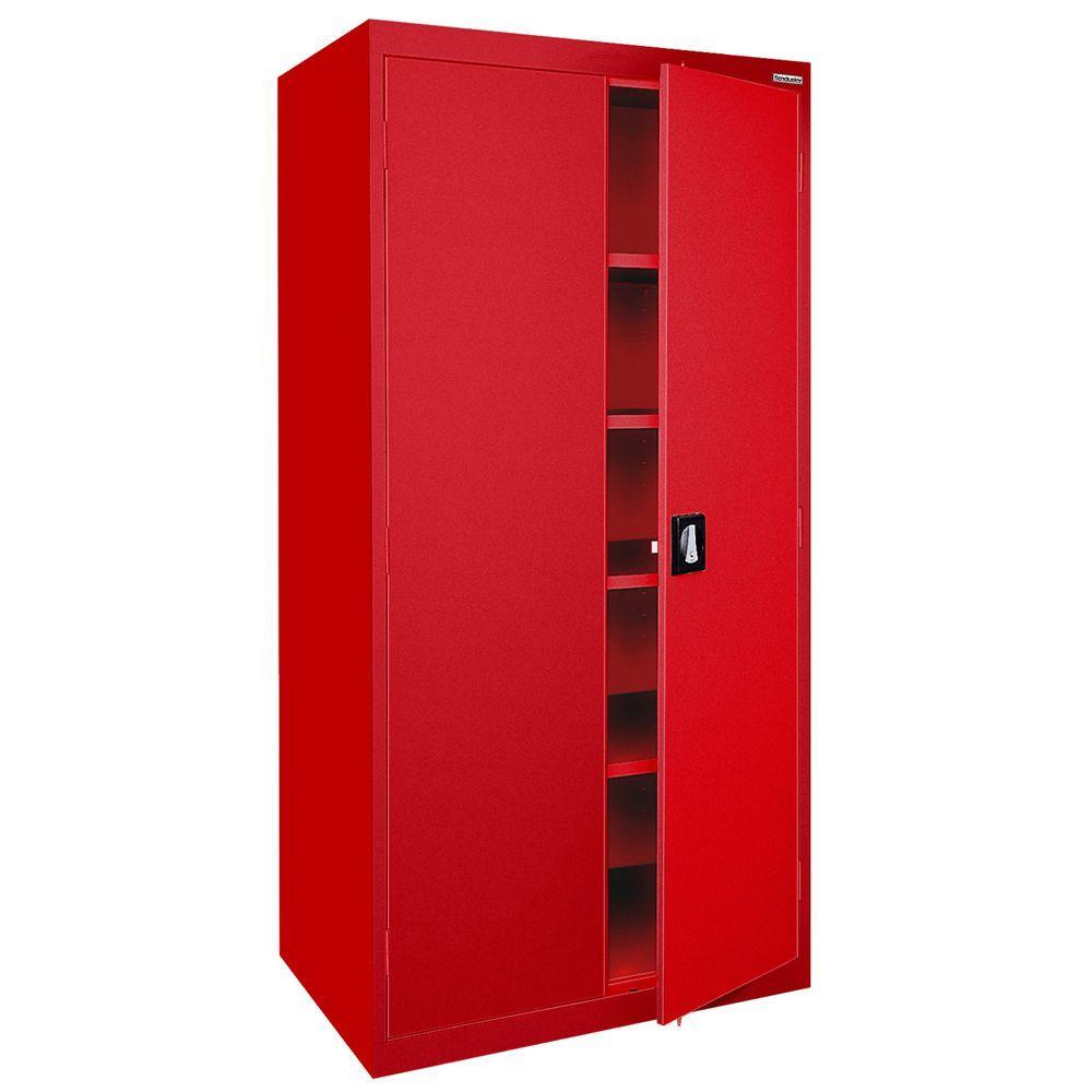 Elite Series 72 in. H x 36 in. W x 18 D 5-Shelf Steel Recessed Handle Storage Cabinet in Red