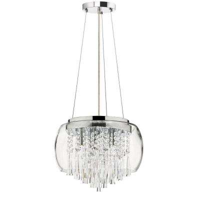 Catherine 5 Light Halogen Polished Chrome Chandelier with Clear Crystal Shades