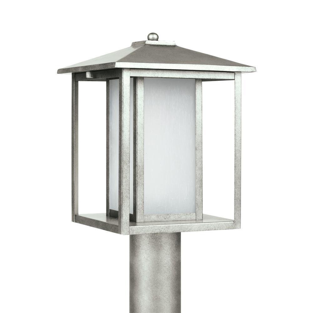Hunnington 1-Light Outdoor Weathered Pewter Post Light
