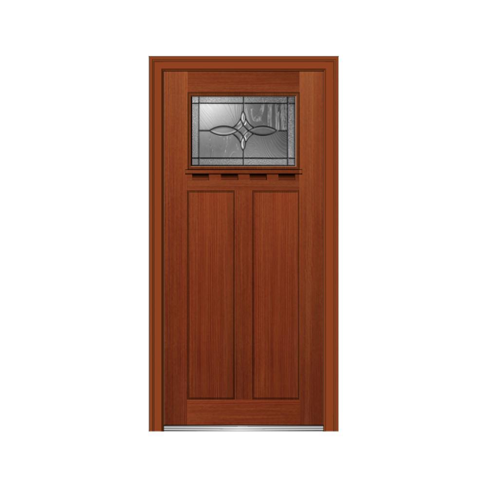 32 in. x 80 in. Lenora Left-Hand Inswing 1-Lite Decorative Craftsman Stained Fiberglass Fir Prehung Front Door w/ Shelf