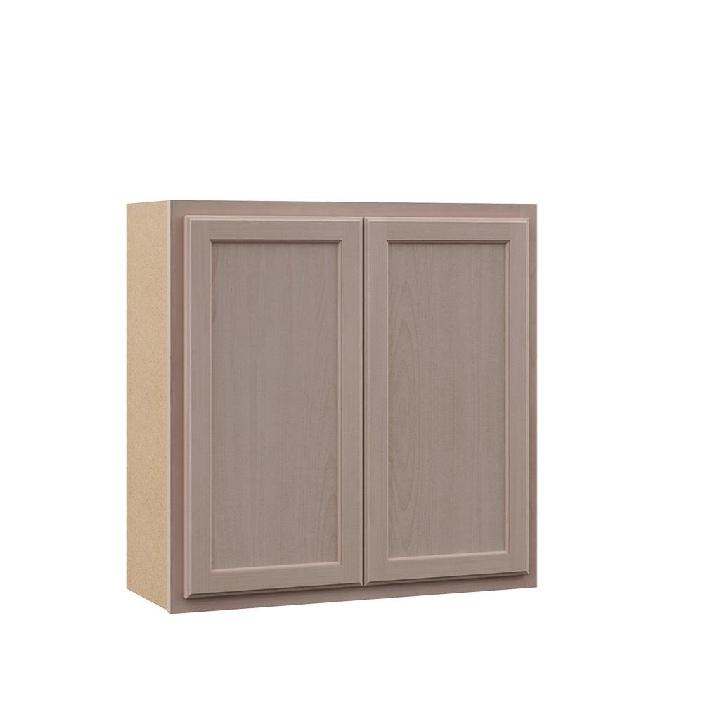 Hampton Bay Hampton Assembled 30x30x12 in. Wall Kitchen Cabinet in Unfinished Beech