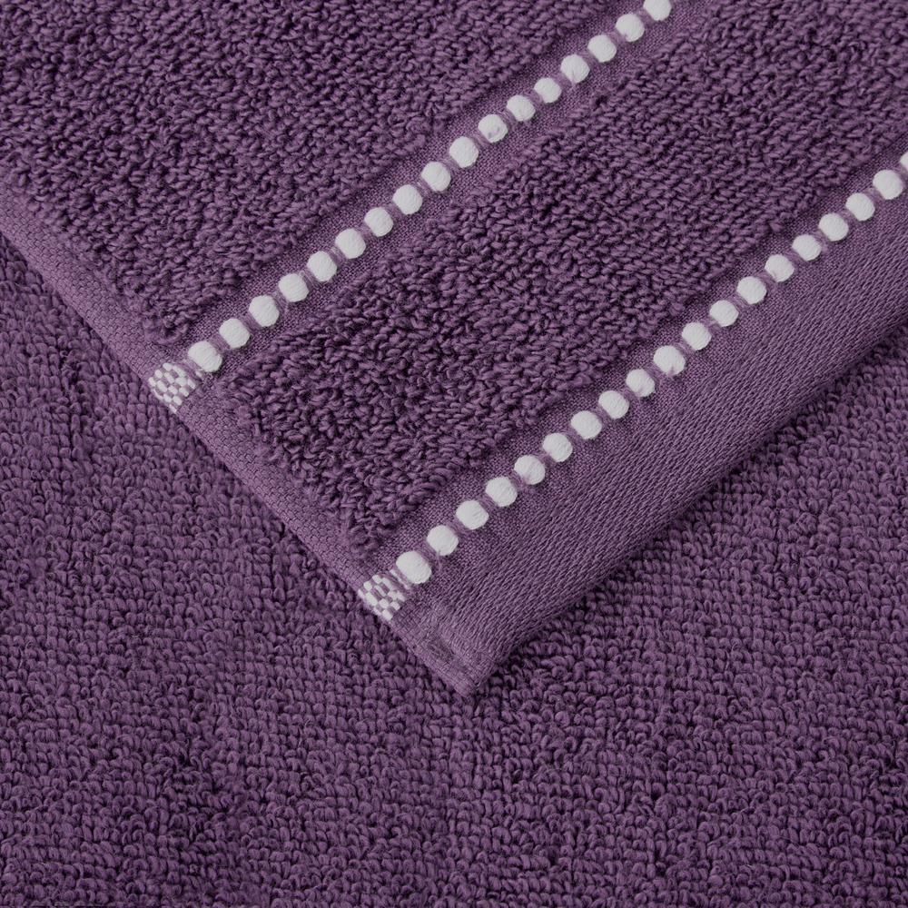 Lavish Home 6-Piece 100% Cotton Zero Twist Quick Dry Bath Towel Set in Eggplant