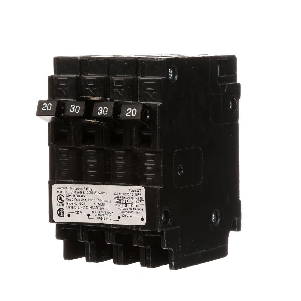 Siemens Triplex Two Outer 20 Amp Single-Pole and One Inner 30 Amp ...