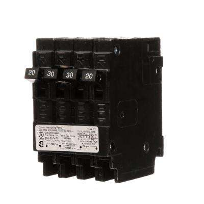 Triplex 2-Outer 20 Amp Single-Pole and 1-Inner 30 Amp Double-Pole Circuit Breaker