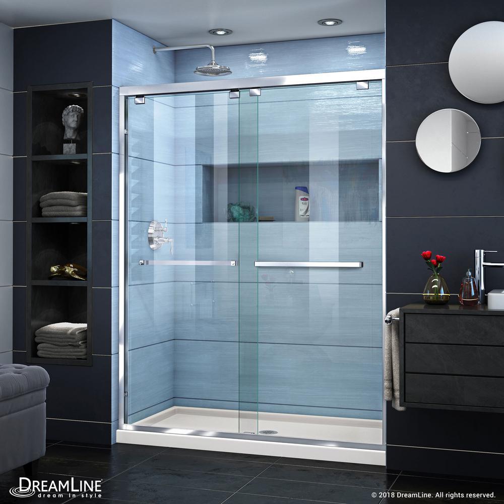 DreamLine Encore 34 in. D x 60 in. W x 78.75 in. H Semi-Frameless Sliding Shower Door in Chrome with Center Drain Biscuit Base