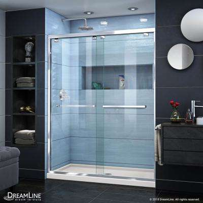 Encore 34 in. D x 60 in. W x 78.75 in. H Semi-Frameless Sliding Shower Door in Chrome with Center Drain Biscuit Base