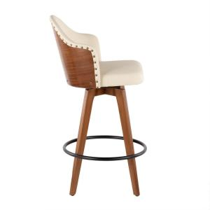 Marvelous Lumisource Ahoy 26 In Walnut And Cream Faux Leather Counter Uwap Interior Chair Design Uwaporg