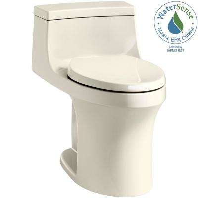 San Souci 1-piece 1.28 GPF Single Flush Elongated Toilet in Almond