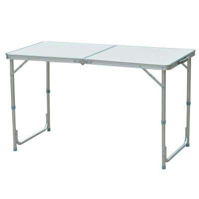 Rectangle Aluminum Adjustable Height Outdoor Picnic Table with Folding Portability and Carrying Handle