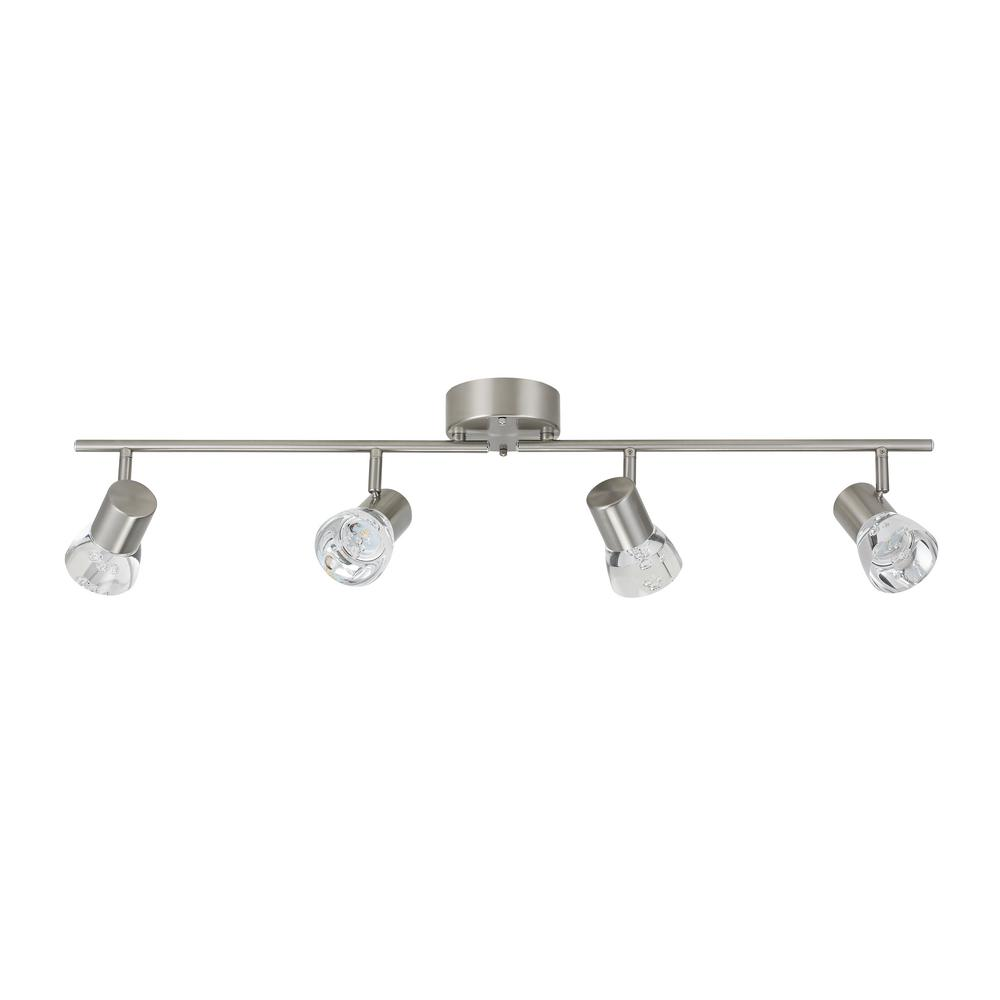 big sale 3fbe1 5c157 Catalina Lighting 3 ft. 4-Light Brushed Nickel Integrated LED Track  Lighting Kit