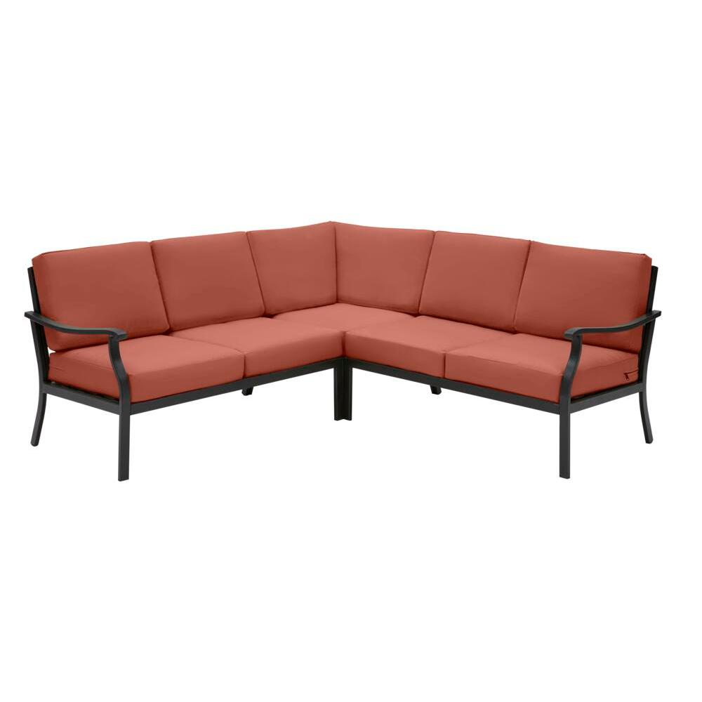 Hampton Bay Riley 3-Piece Black Steel Outdoor Patio Sectional Sofa with Sunbrella Henna Red Cushions was $999.0 now $699.0 (30.0% off)