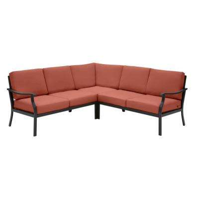 Riley 3-Piece Black Steel Outdoor Patio Sectional Sofa with Sunbrella Henna Red Cushions