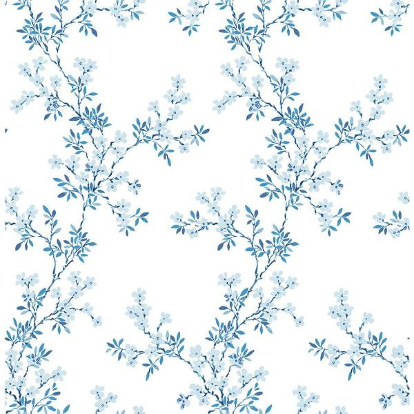 A-Street Claire Blue Floral Trail Wallpaper 2657-22261