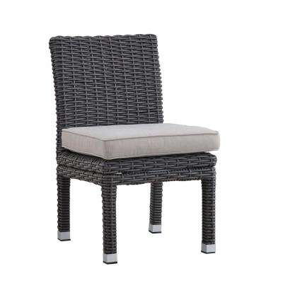 Camari Charcoal Armless Wicker Outdoor Dining Chair with Beige Cushion (Set of 2)